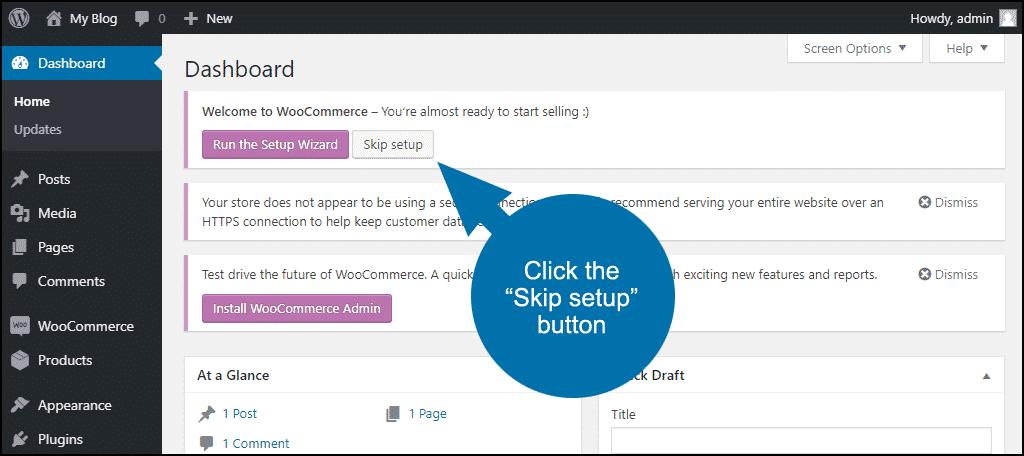 "click the ""Skip setup"" button"