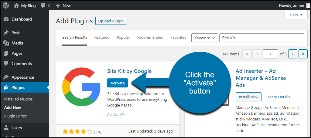 click to activate the WordPress Site Kit plugin