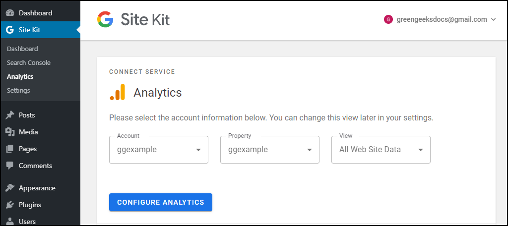 Site Kit WordPress plugin showing Analytics