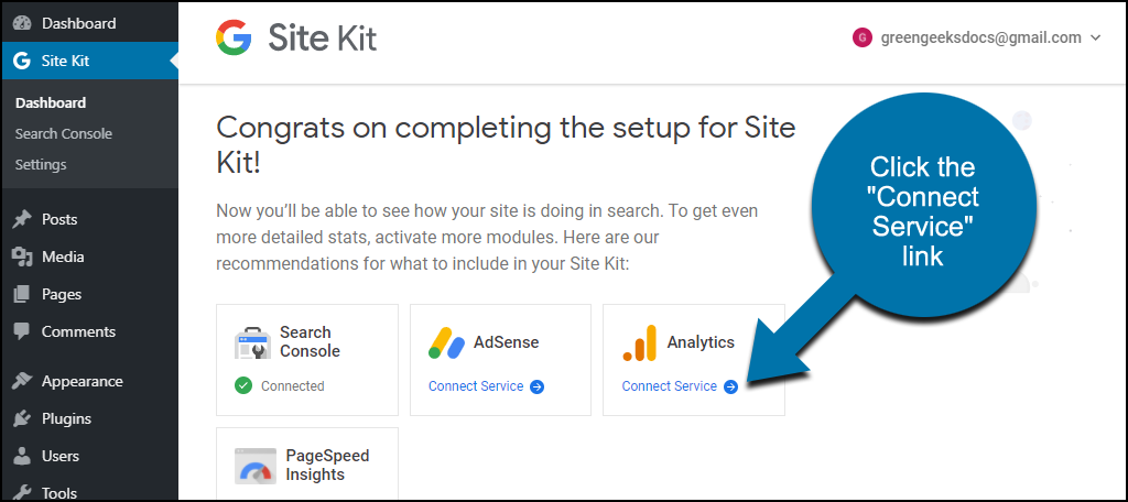 Site Kit WordPress plugin connecting to Analytics