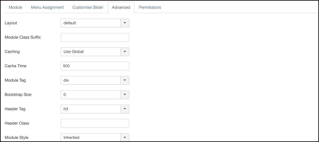 Advanced tab for slider