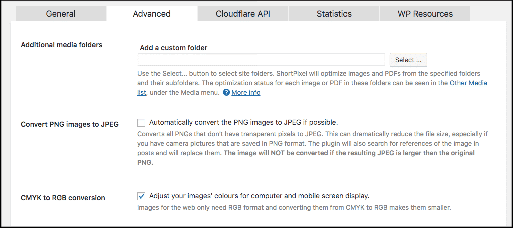 Image optimizer in wordpress advanced tab