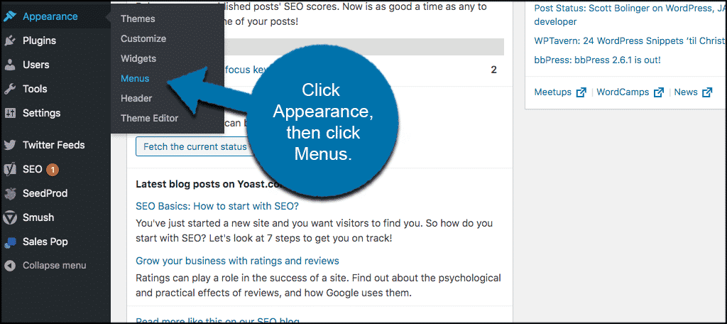 Click on appearance, then menus