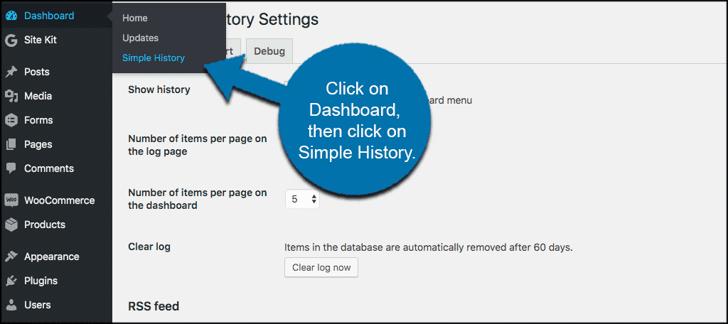 Click on dashboard and then simple history