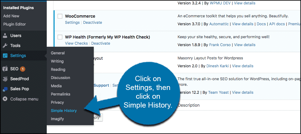Click settings then click simple history