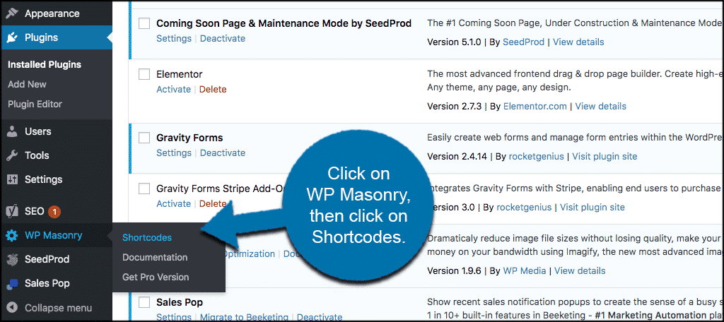 Click wp masonry then shortcodes
