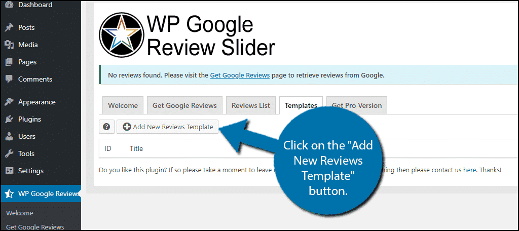 Add New Reviews Template