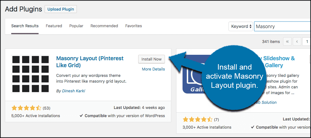 Install pinterest style wordpress plugin