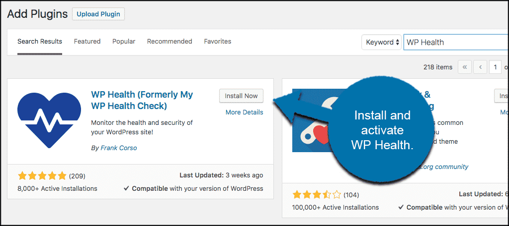 Install and activate wordpress health check plugin