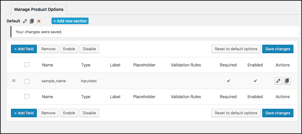 New woocommerce product options added