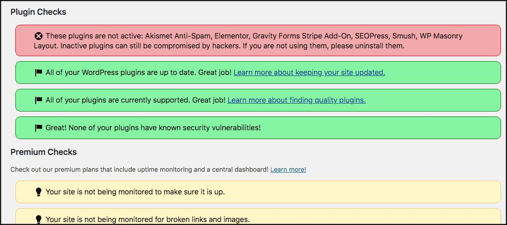 WordPress plugin checks