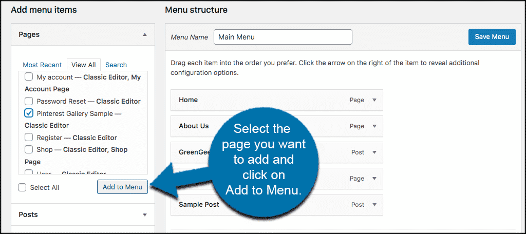 Select page an add to menu