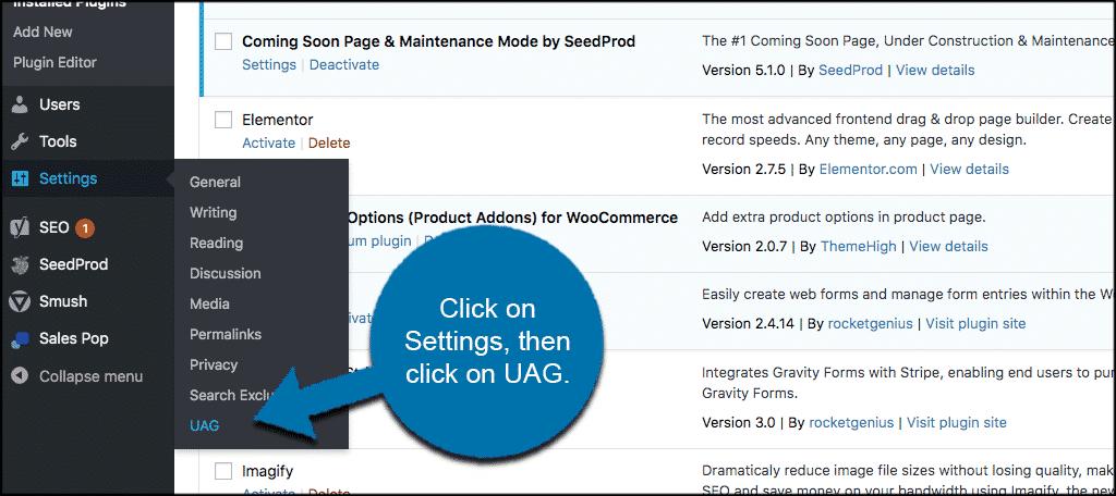 Click settings then click UAG