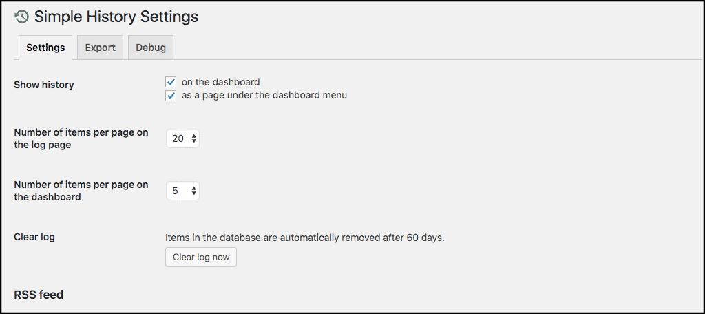User history in wordpress settings