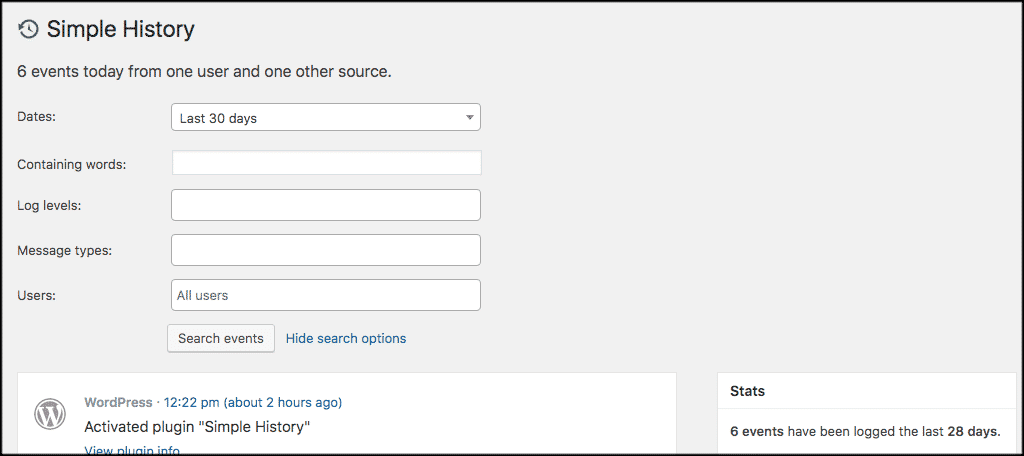Simple history search form