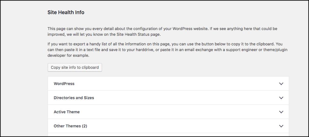 WordPress health check site info