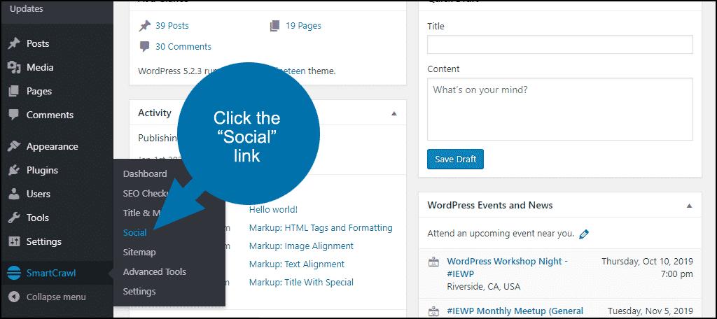 """click the """"Social"""" link"""