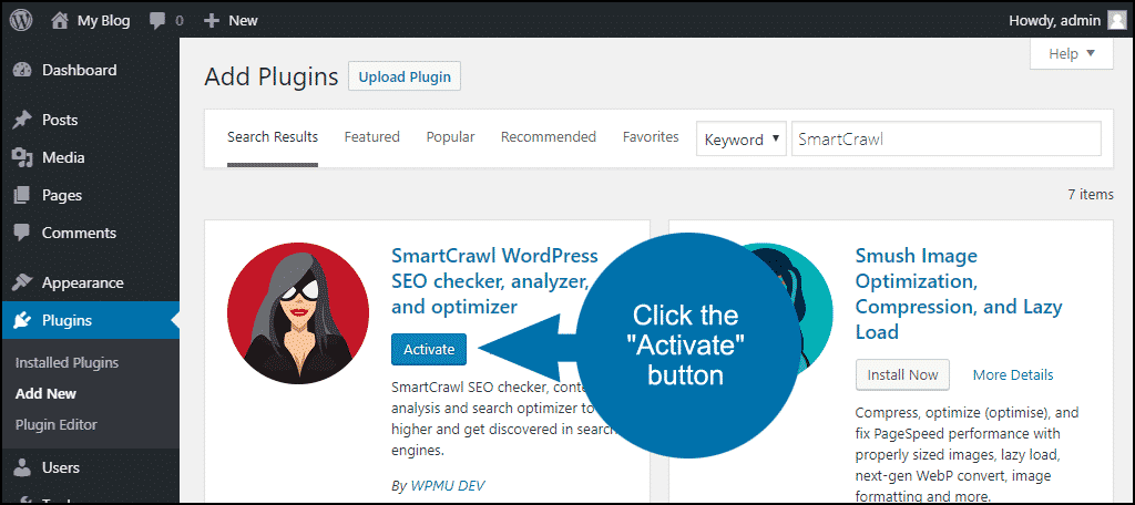 click to activate the WordPress SmartCrawl plugin