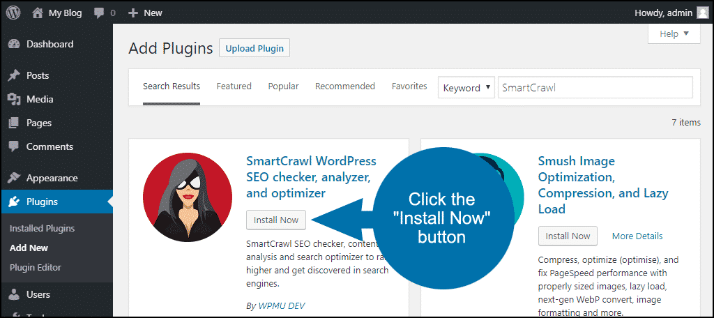 click to install the WordPress SmartCrawl plugin