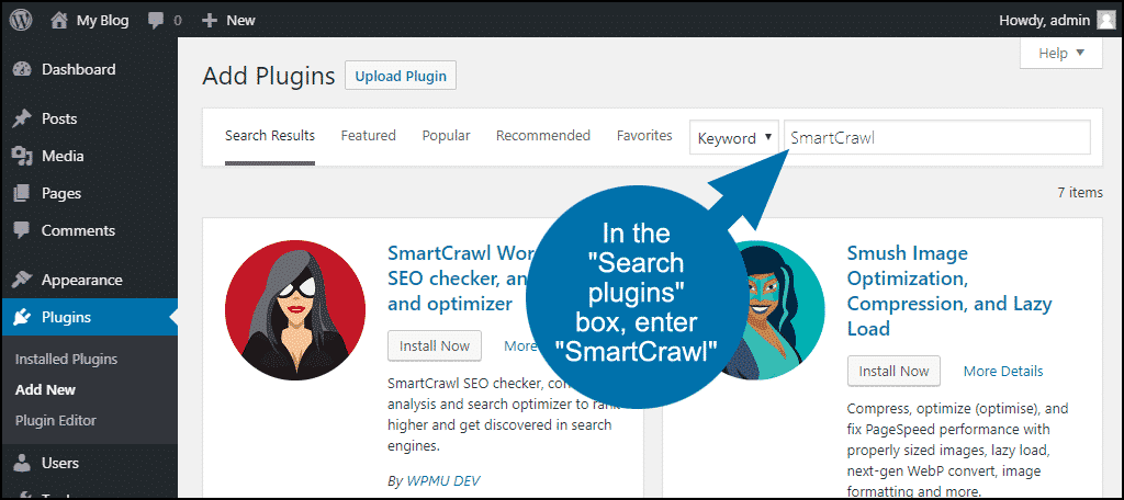 search for the WordPress SmartCrawl plugin