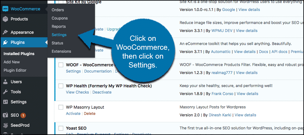 Cick on woocommerce then settings