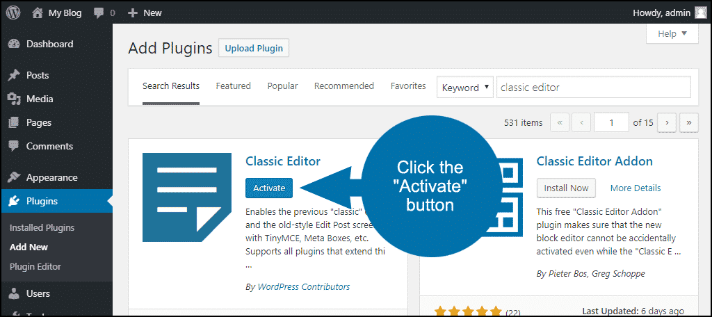 click to activate the WordPress Classic Editor plugin