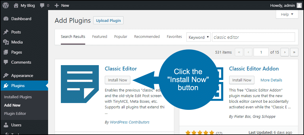click to install the WordPress Classic Editor plugin