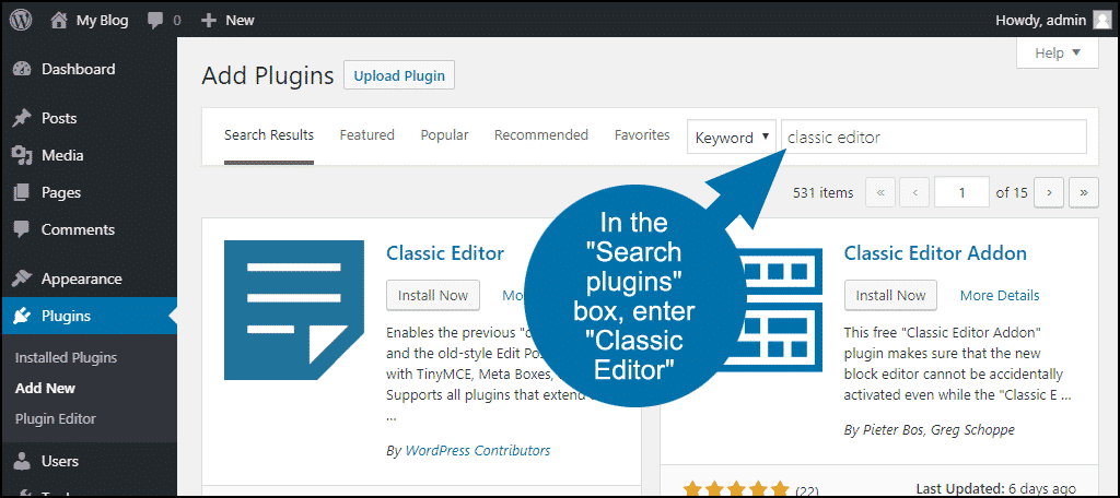 search for the WordPress Classic Editor plugin