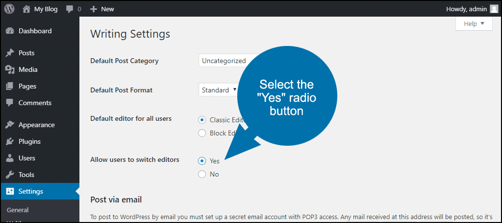 "select the ""Yes"" radio button"