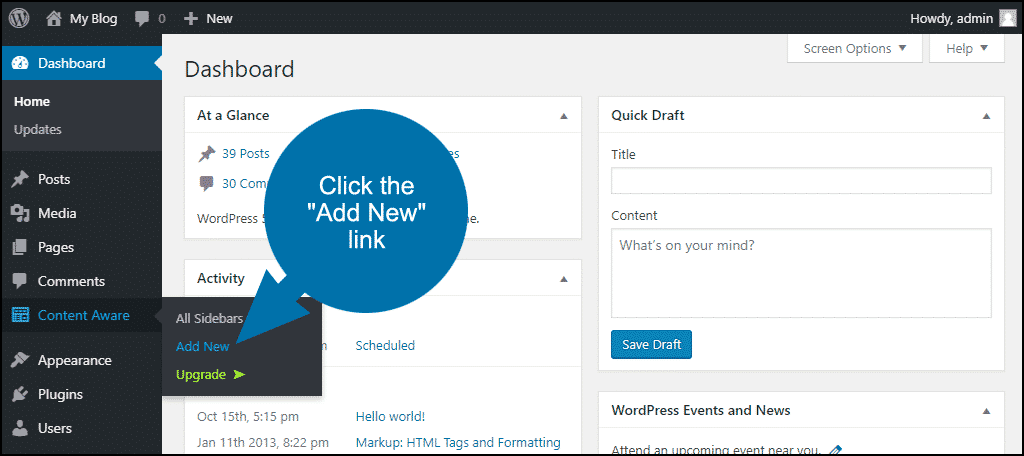 """click the """"Add New"""" link"""