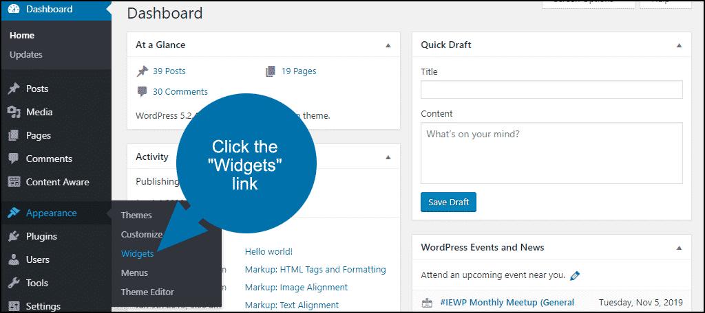 """click the """"Widgets"""" link"""