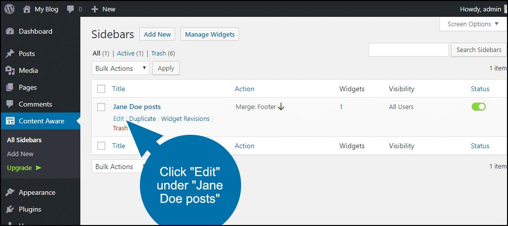 click Edit under Jane Doe posts