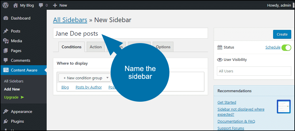 name the sidebar