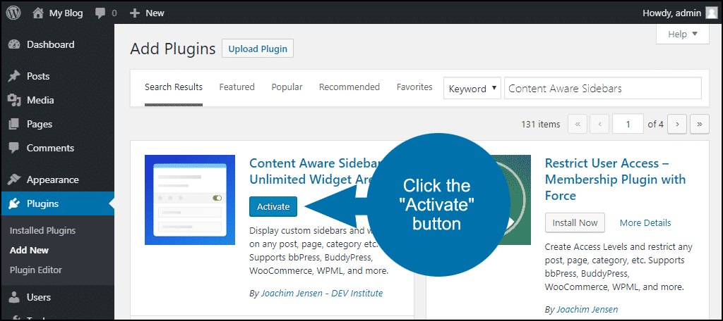 click to activate the WordPress Content Aware Sidebars plugin