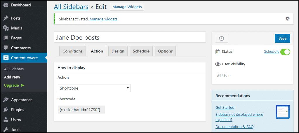 sidebar configuration, shortcode