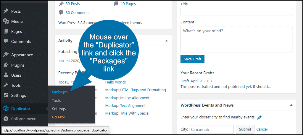 """click the """"Packages"""" link"""