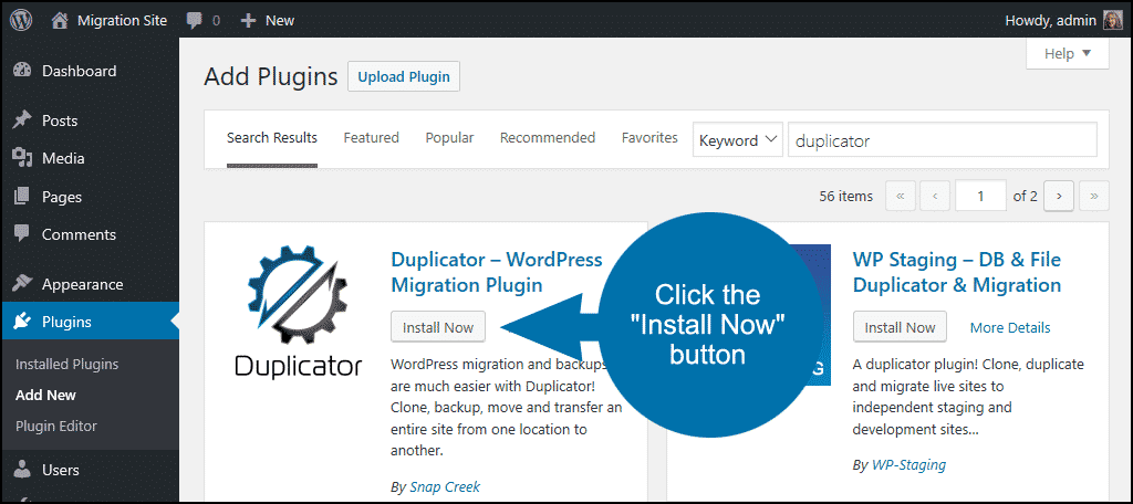 click to install the WordPress Duplicator plugin
