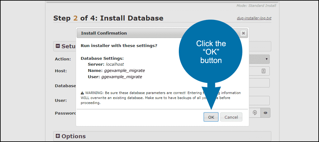 "transfer WordPress - click the ""OK"" button"