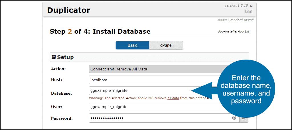 transfer WordPress - enter database credentials