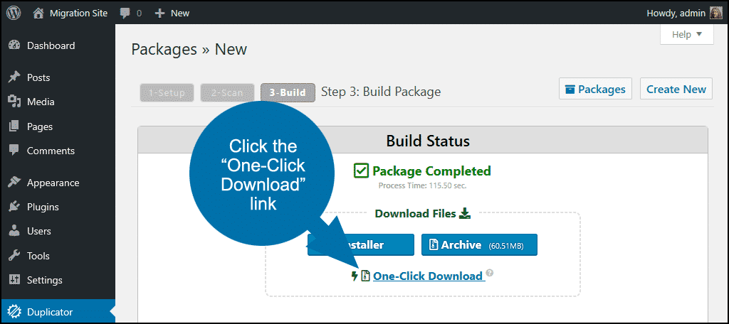 """click the """"One-Click Download"""" link"""