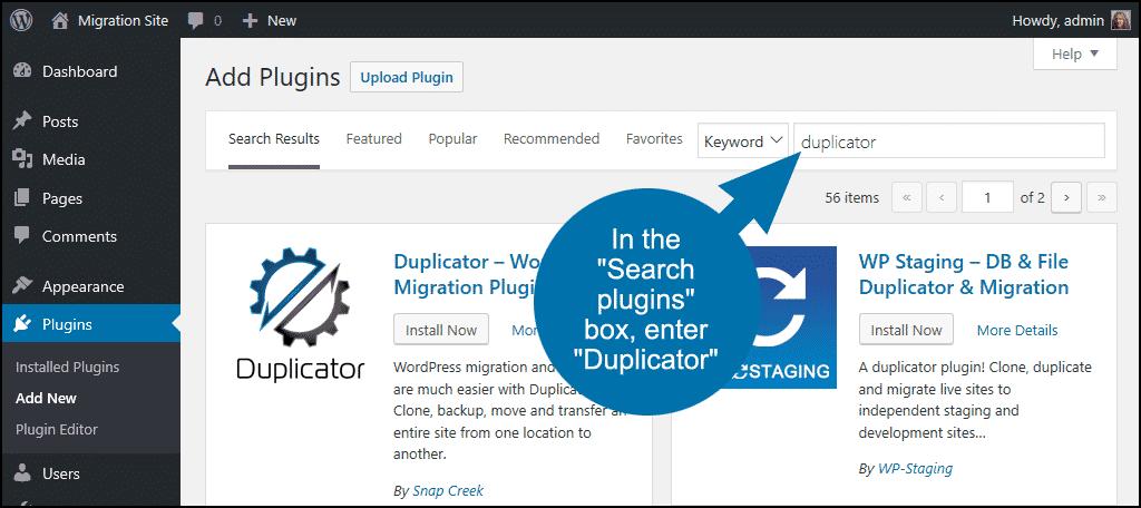 search for the WordPress Duplicator plugin