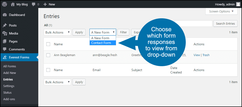 select a form from the dropdown