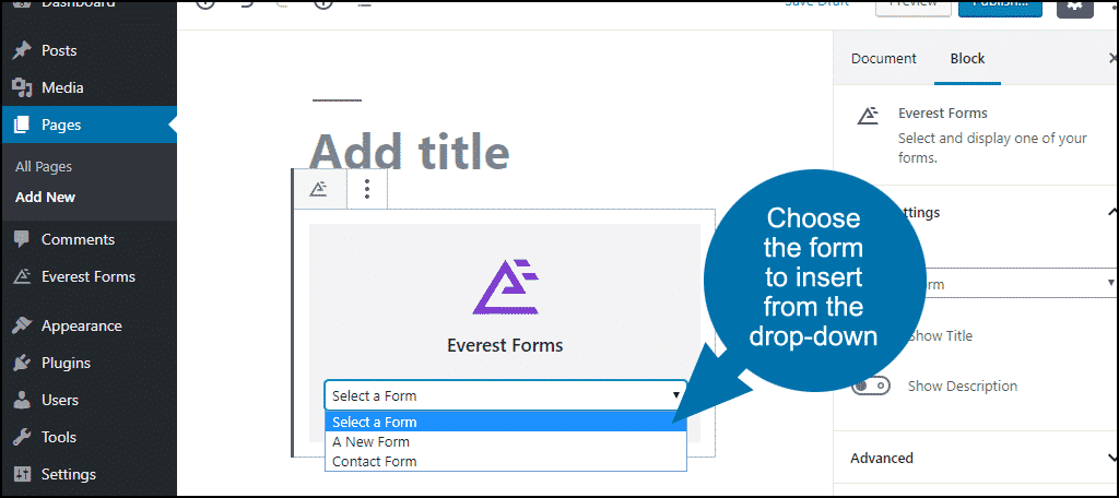 choose form from dropdown