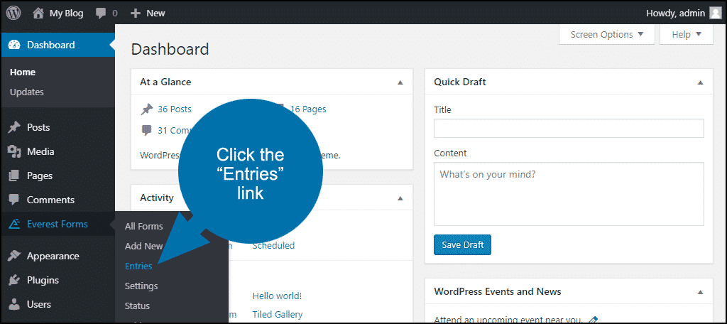 """click the """"Entries"""" link"""