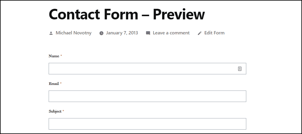 what the default form looks like