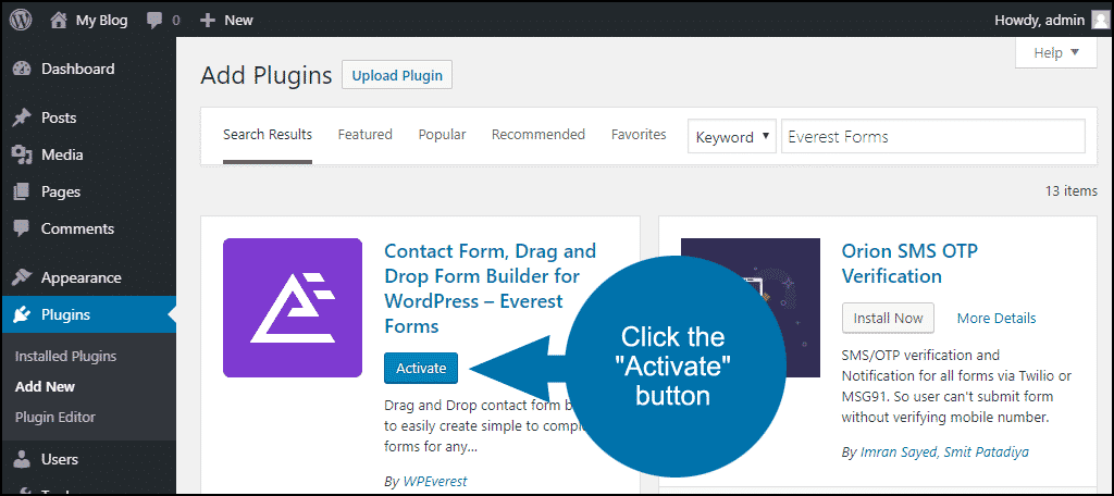 click to activate the WordPress Everest Forms plugin