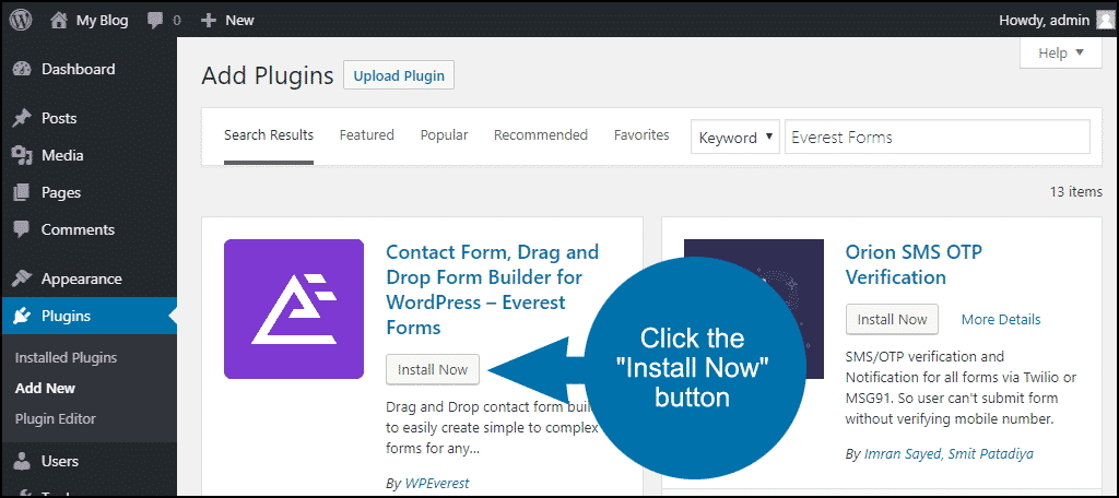 click to install the WordPress Everest Forms plugin