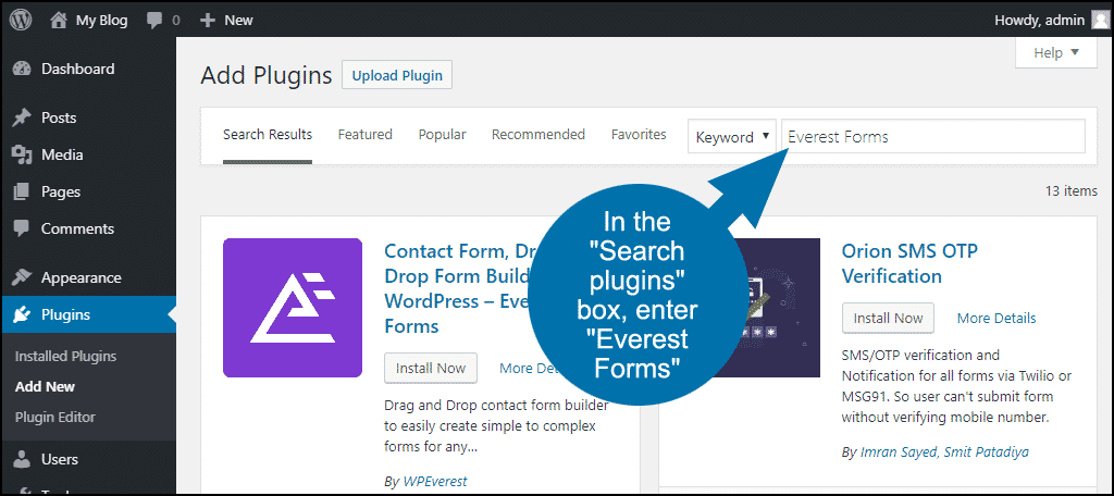 search for the WordPress Everest Forms plugin