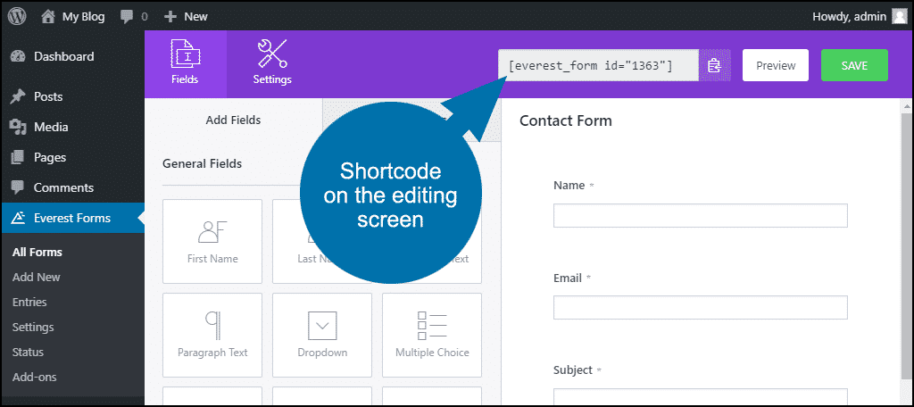 shortcode on form editing screen