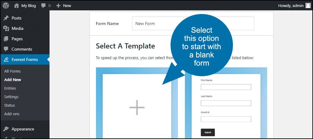 start with a blank form